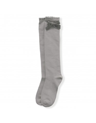 Dark gray high sock with bows